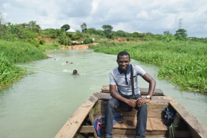 Inside a canoe at the Otamirin river, Owerri, Imo state.