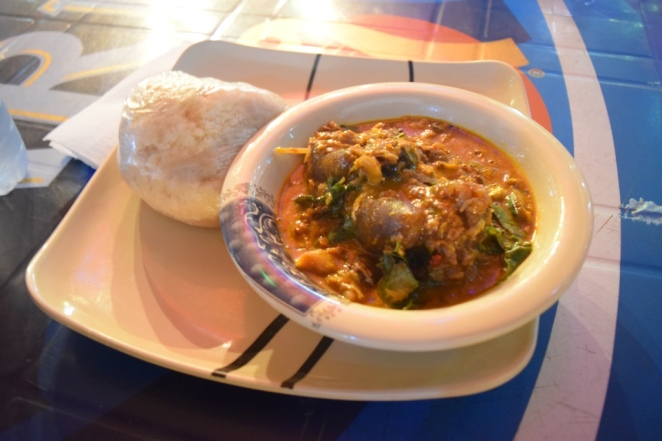 I was served this sumptuous plate of Fufu and Oha soup at the popular Ibari Ogwa Entertainment Village in Owerri. OMG, that soup was too complicated, and of course, I didn't finish it.