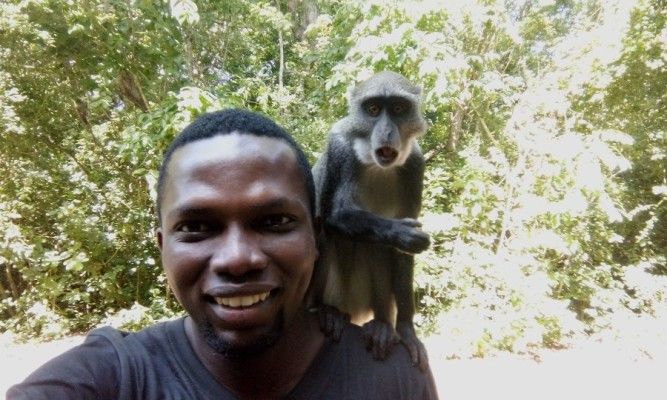 Selfie with a surprised monkey at Gede Ruins, Kenya