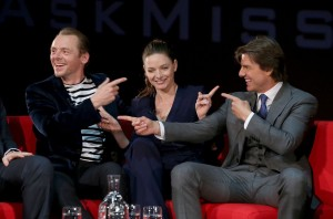 LONDON, ENGLAND - JULY 25:  (L-R) Simon Pegg, Rebecca Ferguson and Tom Cruise take part in a Q&A at the UK Fan Screening of 'Mission: Impossible - Rogue Nation' at the IMAX Waterloo on July 25, 2015 in London, United Kingdom.  (Photo by Mike Marsland/Getty Images for Paramount Pictures) *** Local Caption *** Simon Pegg; Rebecca Ferguson; Tom Cruise