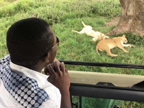 Sam with Lionesses