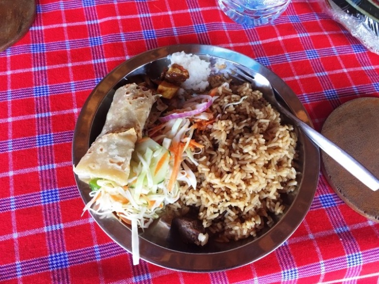 11 Pilau or Rice, pancake, coleslaw, vegetable, beef strips,