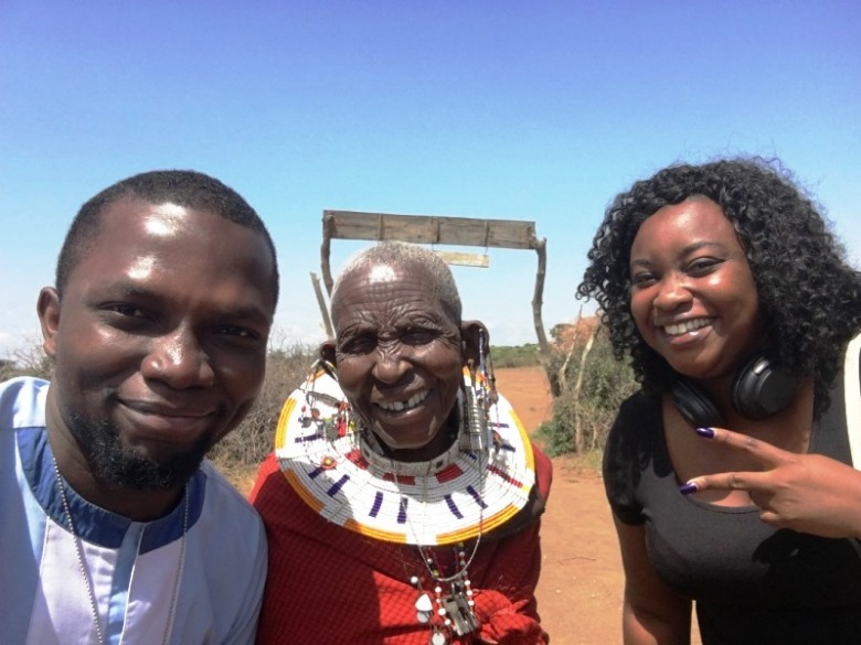 Sam Adeleke and Banke Otubanjo With 98 year old Maasai Bibi, Tanzania, Afro Tourism