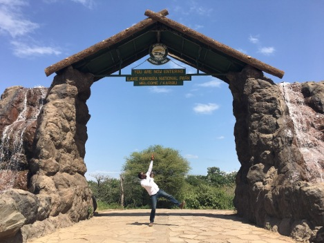 Sam Adeleke at Lake Manyara National Park Gate
