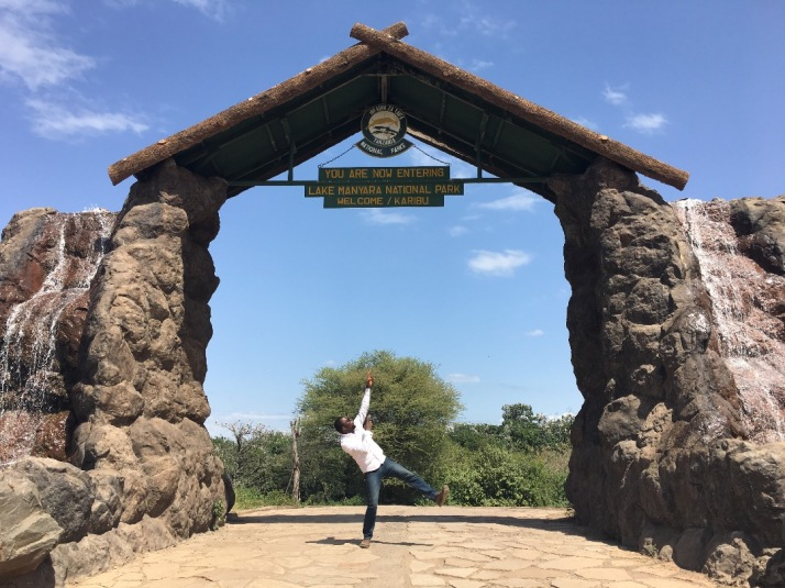 Sam Adeleke at Lake Manyara National Park Gate
