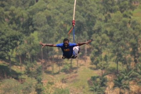 Sam Adeleke Bungee Jump at Jinja Uganda Afro Tourism