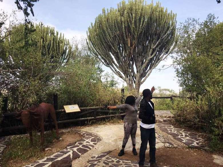 Sam Adeleke Pointing to the Candelabra tree_ Serengeti National Park Tanzania