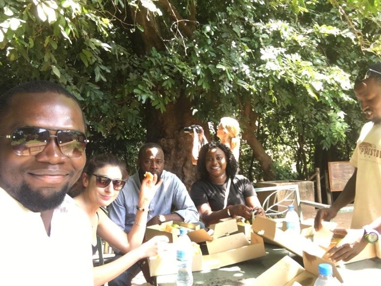 Sam Adeleke with tourists at Lake Manyara Park Tanzania