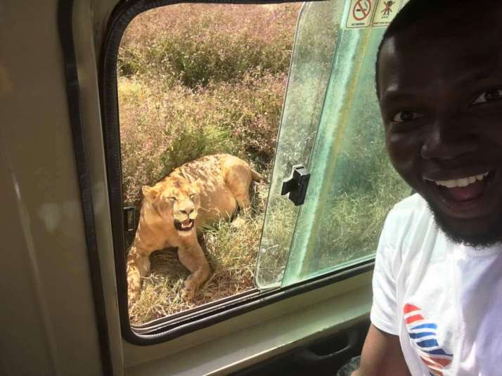 Sam Adeleke_Selfie with the Lionness at Ngorongoro Park Tanzania