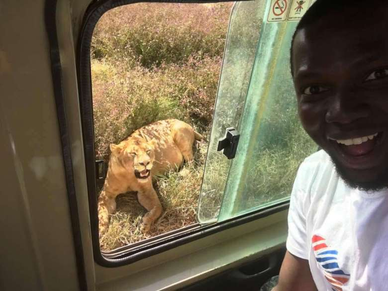 Sam Adeleke_Selfie with the Lionness at Ngorongoro Park Tanzania