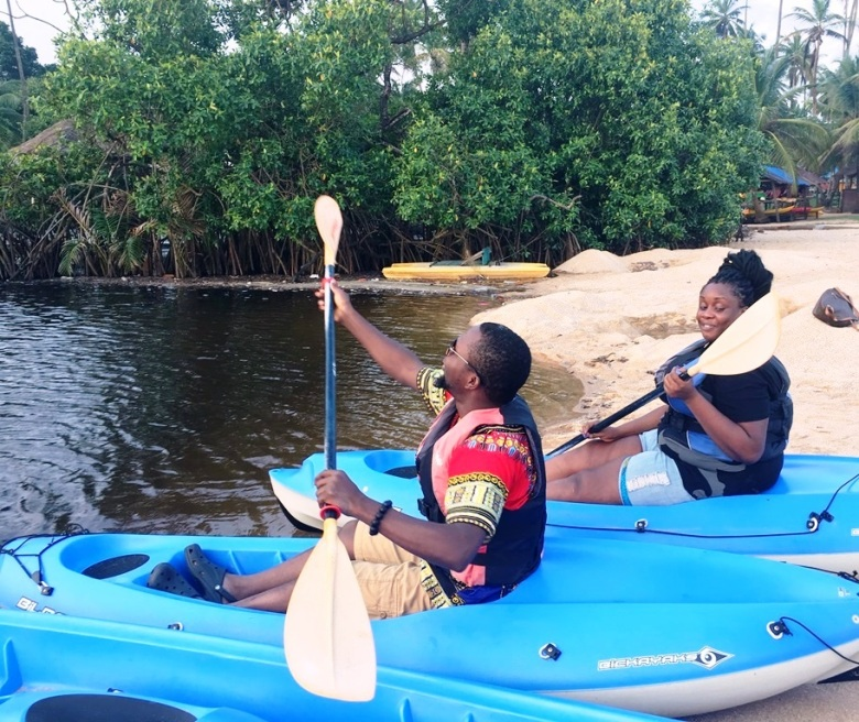 Sam Adeleke - Posing in the Kayaks - La Campagne Tropicana