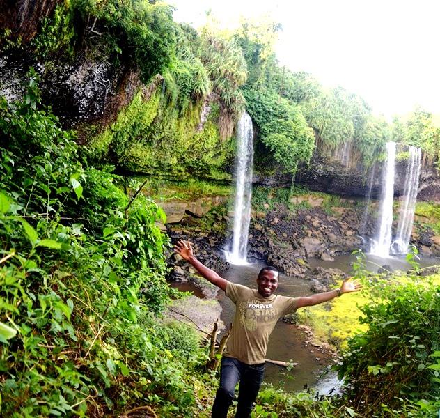 SAM ADELEKE AT AGBOKIM WATERFALLS CROSS RIVER STATE NIGERIA
